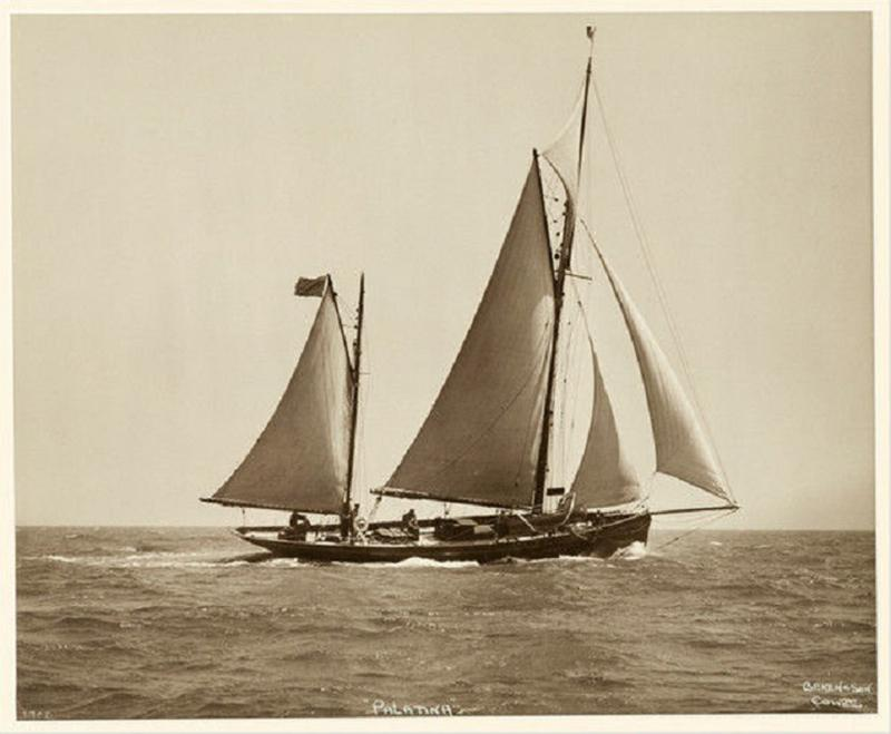 Yacht Palatina early silver photographic print by Beken of Cowes