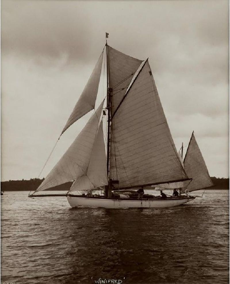 Yacht Winifred Yawl early silver photographic print by Beken of Cowes