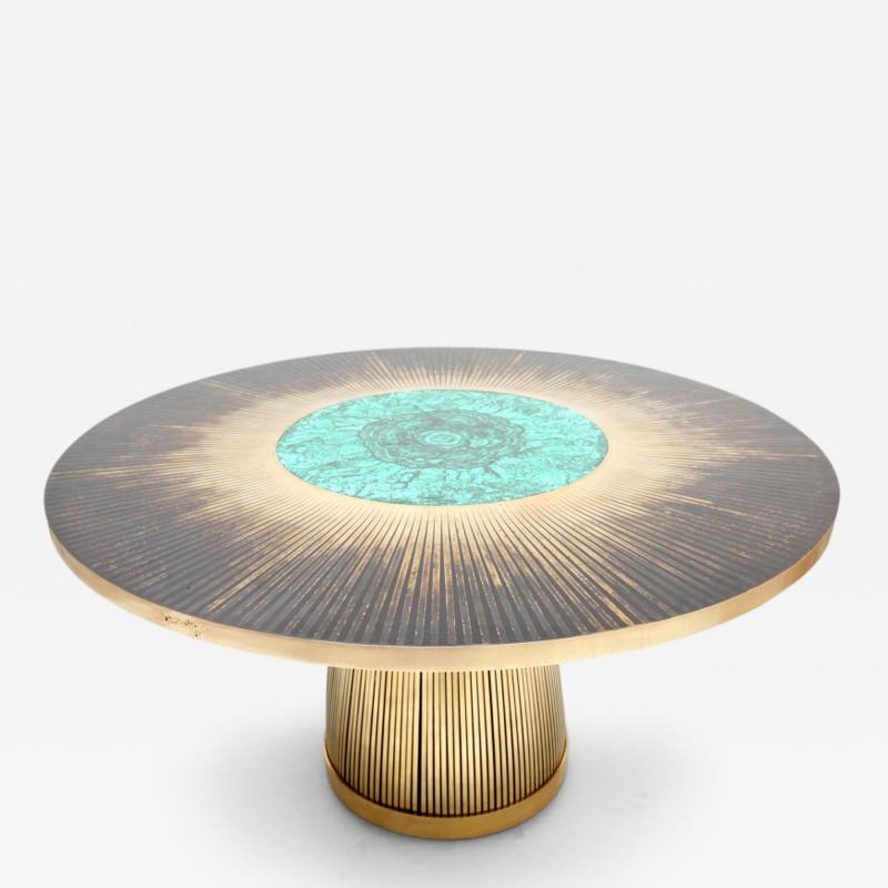 Yann Dessauvages Malachite and Brass Dining Table by Dessauvages
