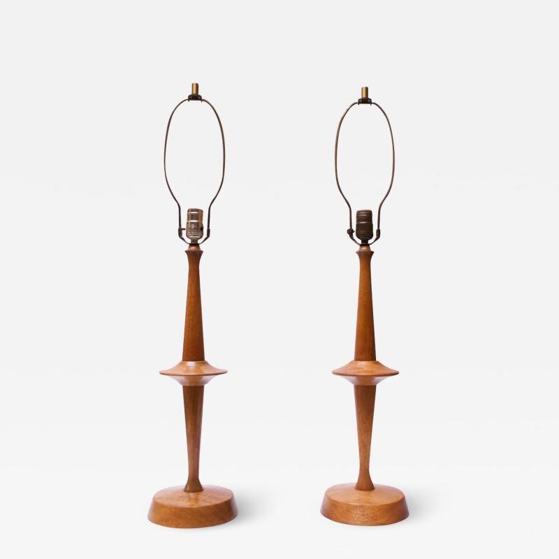 Yasha Heifetz Pair of Modernist Maple Table Lamps by Yasha Heifetz
