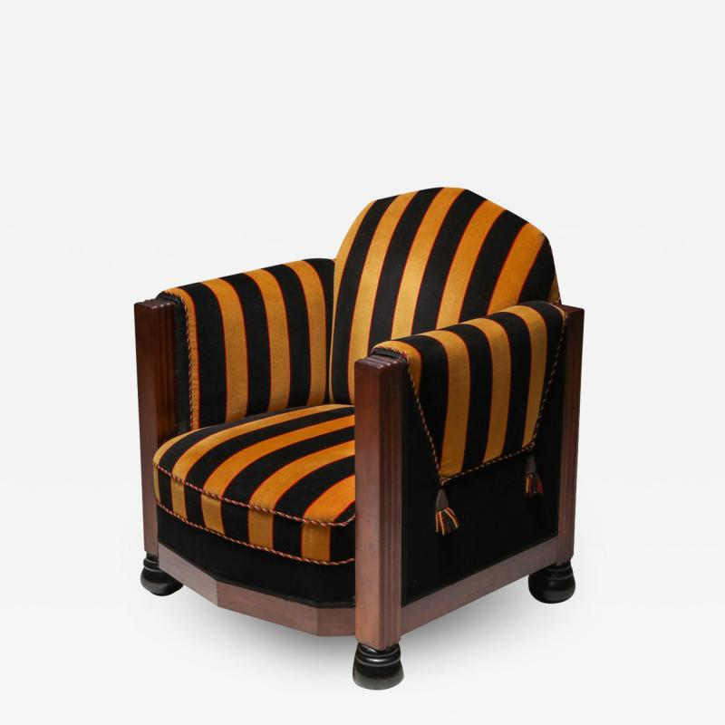 Yellow and Black velvet Art Deco club chair 1930s