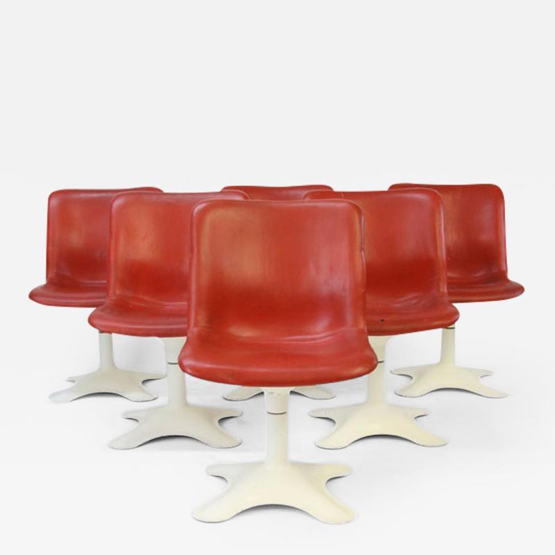 Yrjo Kukkapuro Six Mid Century Leather Dining Chairs by Yrjo Kukkapuro