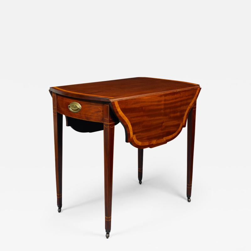 ZOOM HEPPLEWHITE PEMBROKE BOWFRONT TABLE WITH SHAPED LEAVES