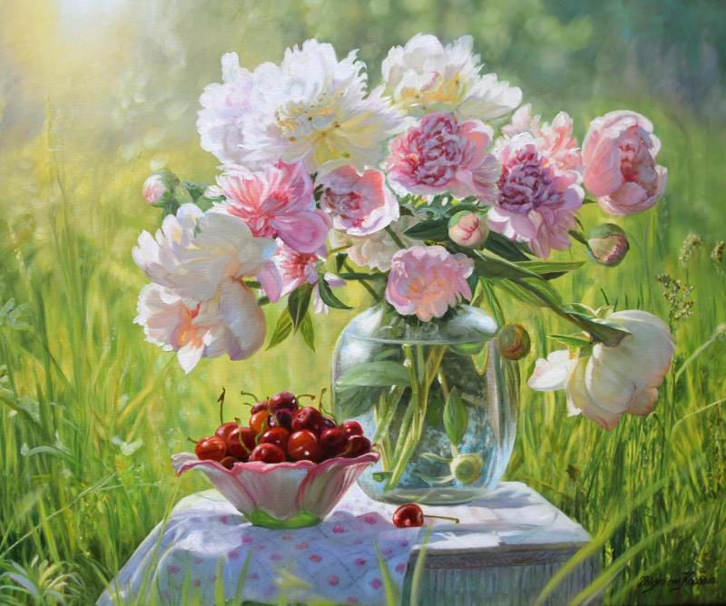Zbigniew Kopania Pink Peonies with Cherries Still Life