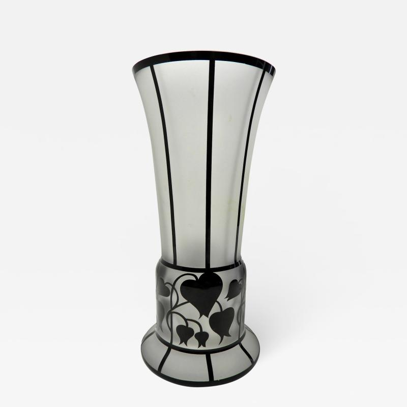 Zbynek Votocek Czech Hand Blown 8 Etched Vase by Zbynek Votocek