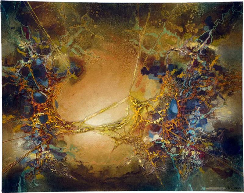 Zdzislaw Salaburski Exceptional Abstract Painting by Zdzislaw Salaburski