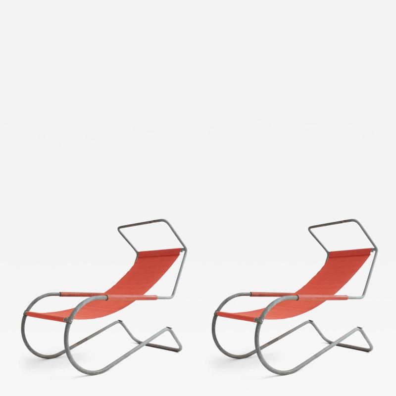 battista giudici Pair of Lido Lounge Chairs by Battista Giudici Locarno Switzerland 1936