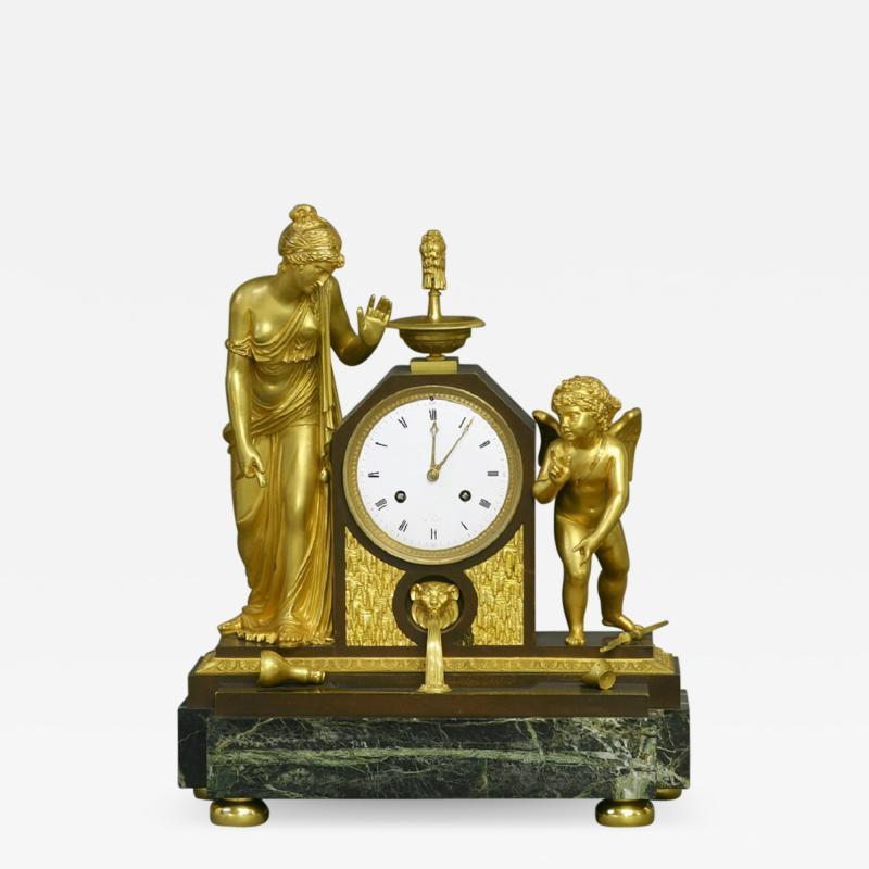 c 1810 Large French Ormolu Patinated and Marble Mantle Clock