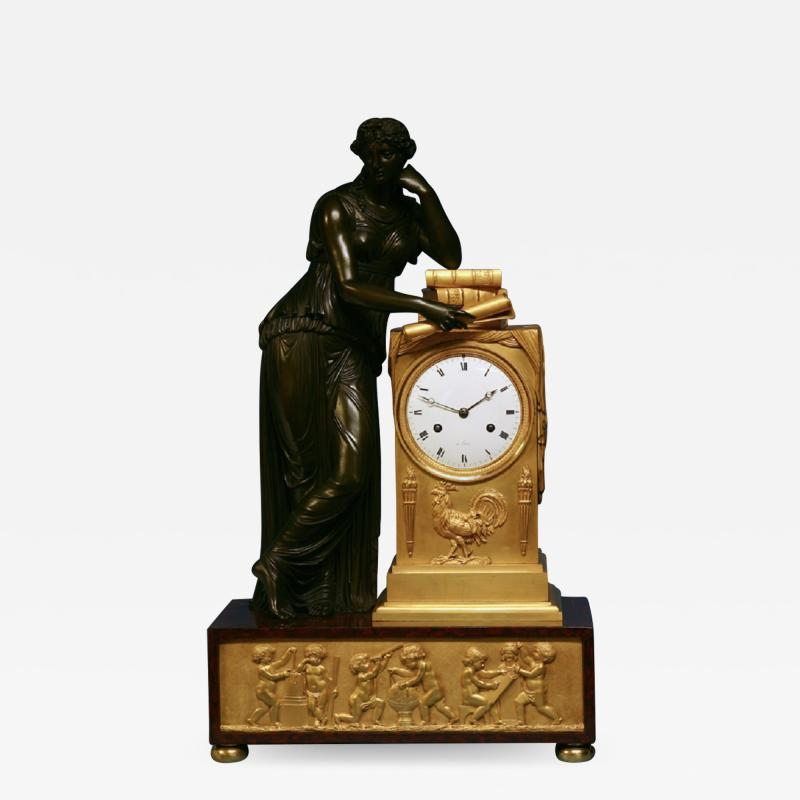 c 1815 Large French Ormolu Patinated Bronze and Red Variegated Mantle Clock