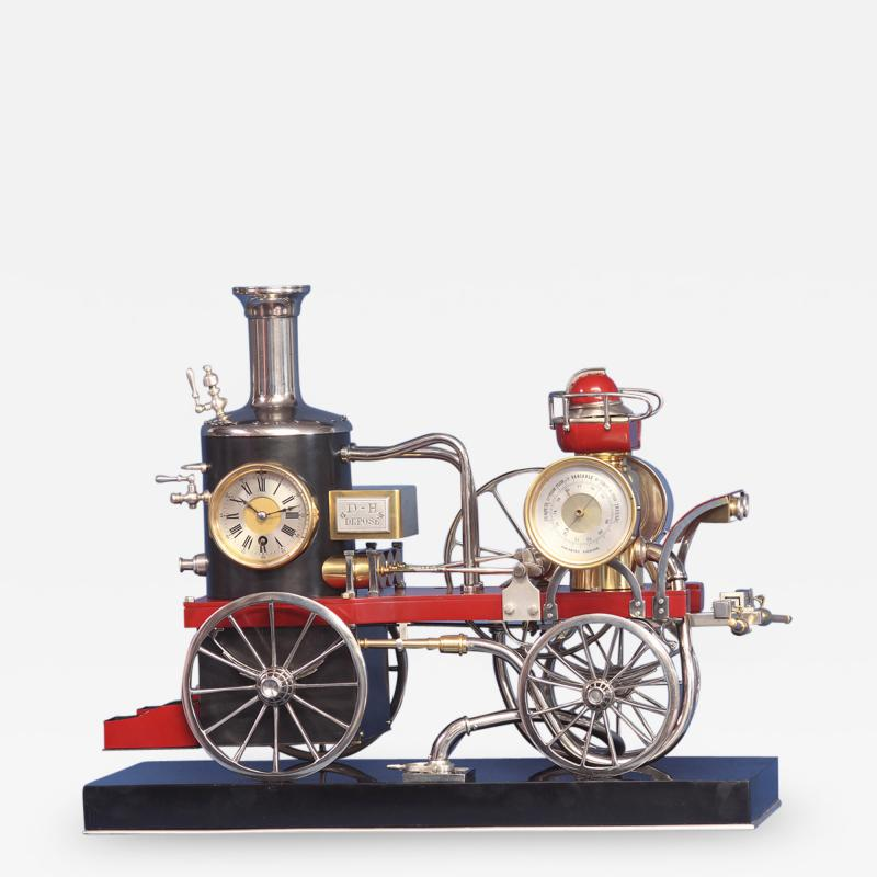 c 1900 French Industrial Fire Engine Clock
