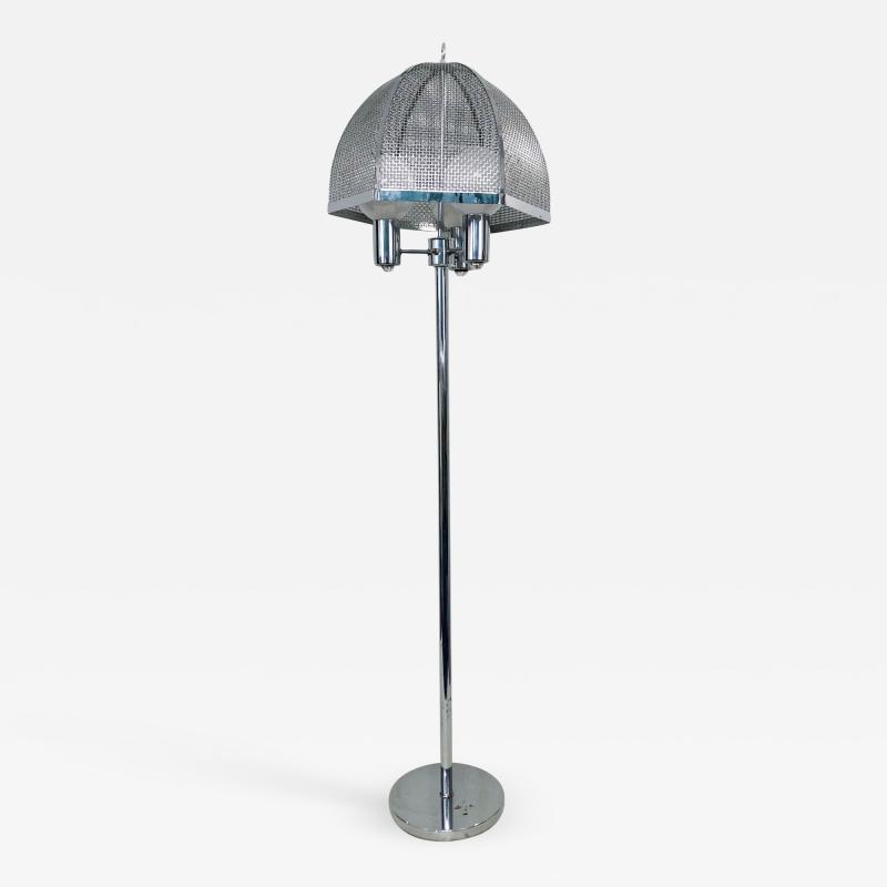 clover lamp company Chrome Floor Lamp with Chrome Cane Shade by the Clover Lamp Company 1960s
