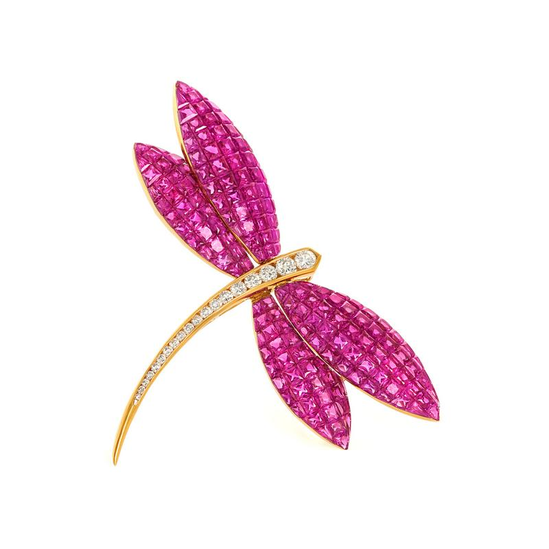 dragonfly brooch with invisibly set rubies