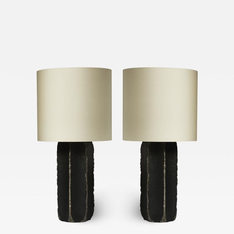 gilles caffier Pair of Black Ceramic and Leather Table Lamps