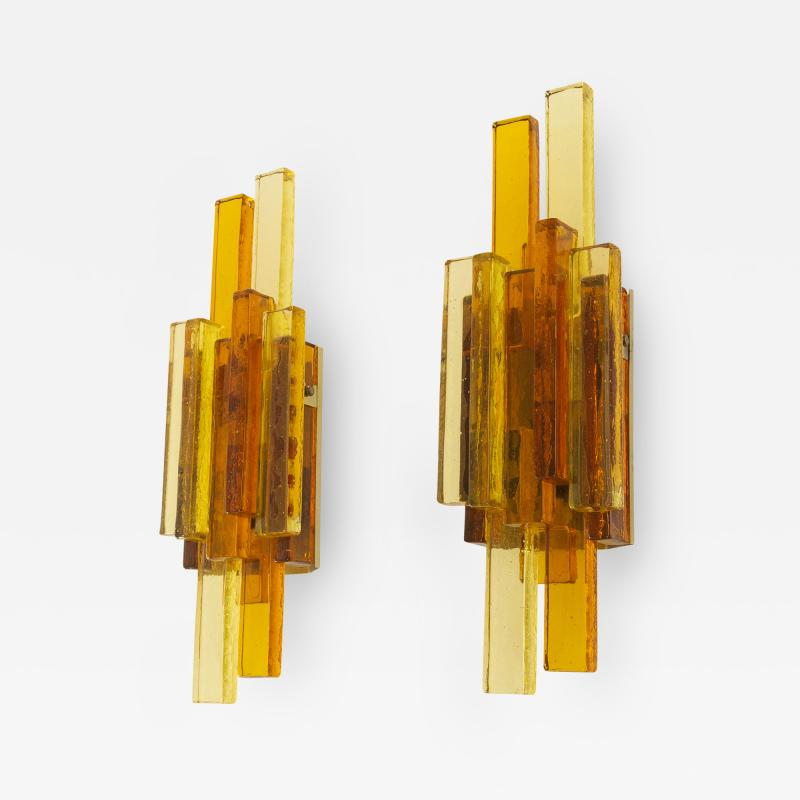 holm sorensen Pair of amber and golden colored glass wall lamps by Holm S rensen 1960s