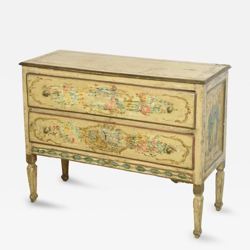 italian Neoclassic Painted an Parcel Gilt Two Drawer Commode Piedmontese