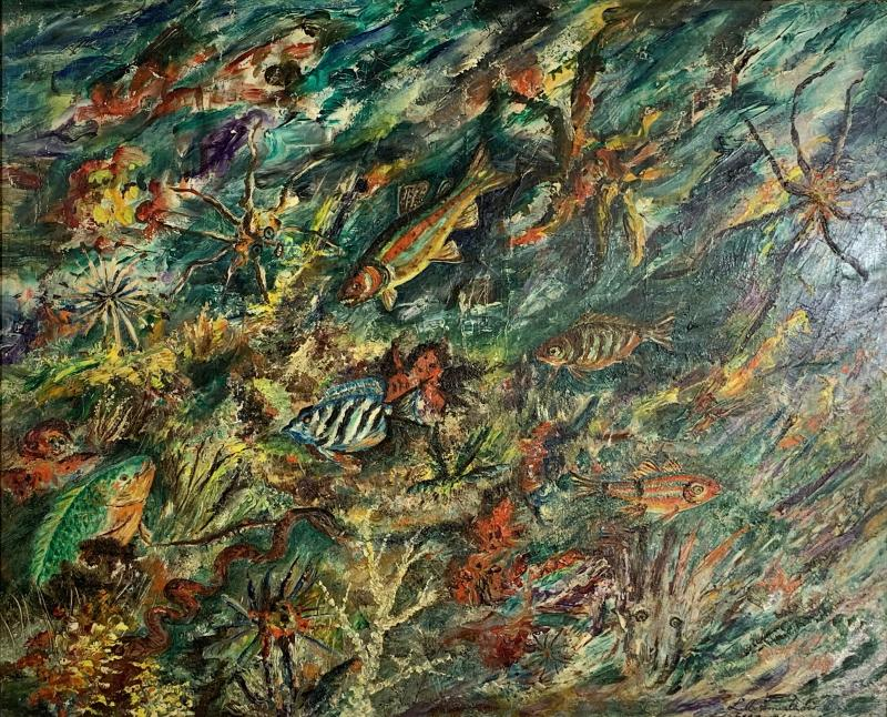 ludwik A Smialkowski MODERNIST LIFE IN THE SEA OIL ON BOARD PAINTING