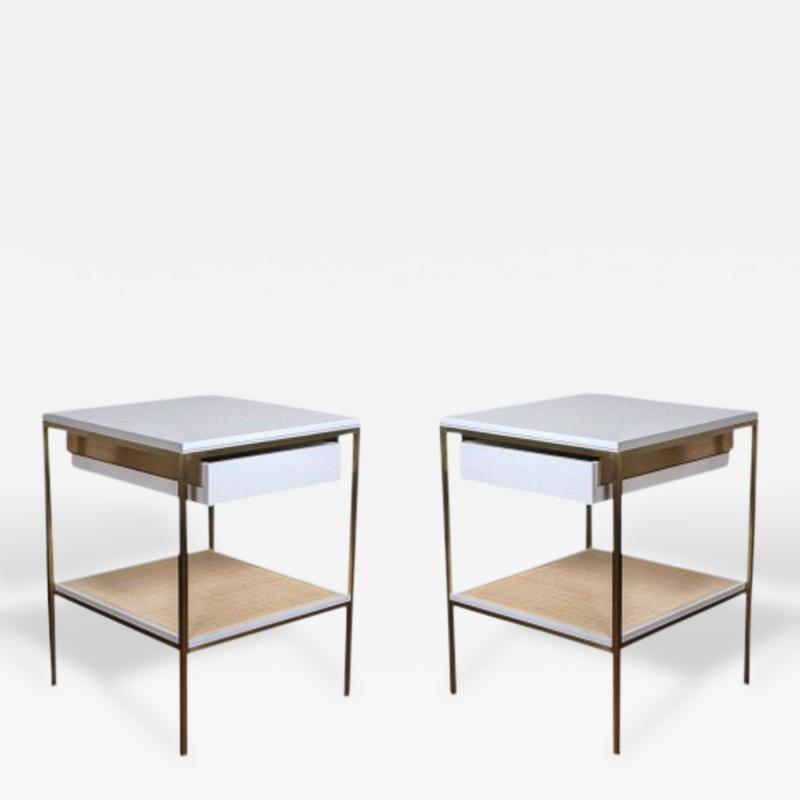 reGeneration 392 Lacquered Bedside Tables with Solid or Caned Shelves