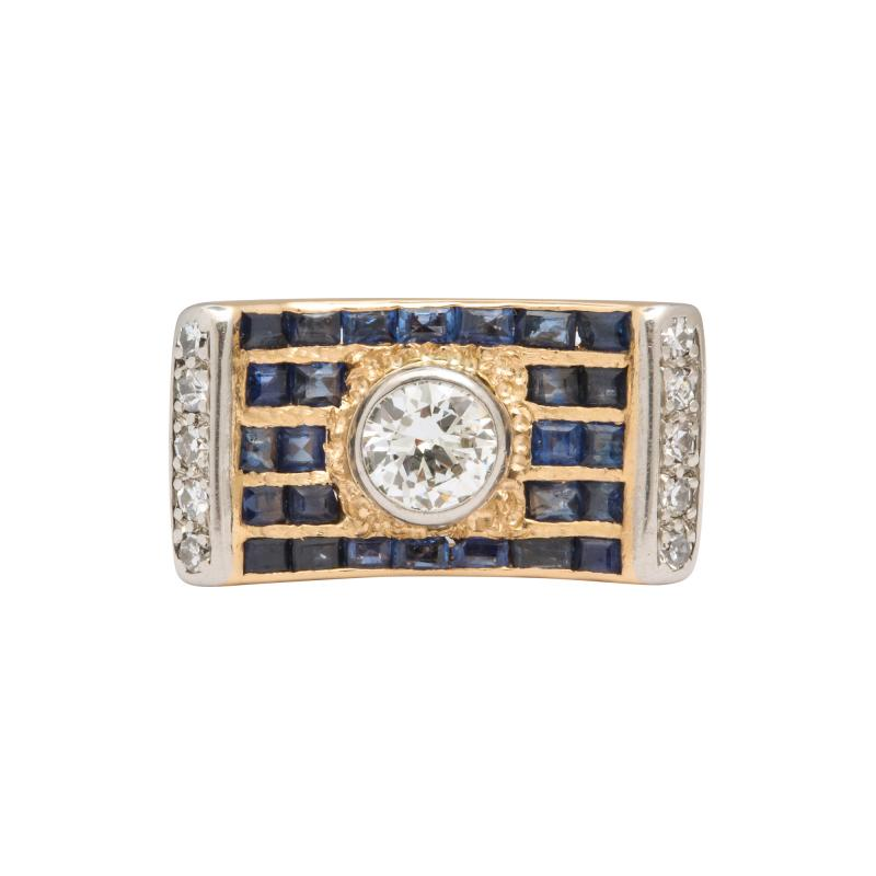 retro diamond saphire ring