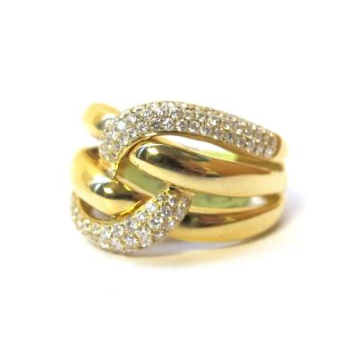 63 Carat Pave Diamond Knot Ring 18k Yellow Gold