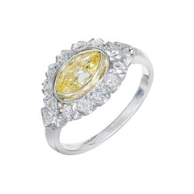 65 Carat Fancy Intense Yellow White Diamond Platinum Engagement Ring