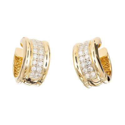 70 Carat Two Row Diamond Gold Huggie Hoop Earrings