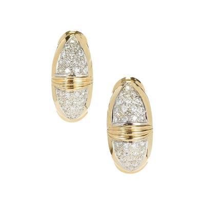 80 Carat Diamond Hoop Gold Hinged Back Earrings