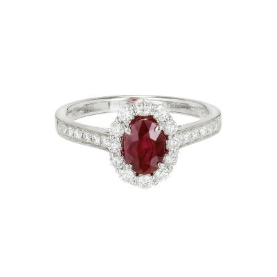 88 Carat Oval Ruby Diamond Halo Gold Engagement Ring