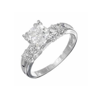 90 Carat Diamond Old European Cut Platinum Engagement Ring