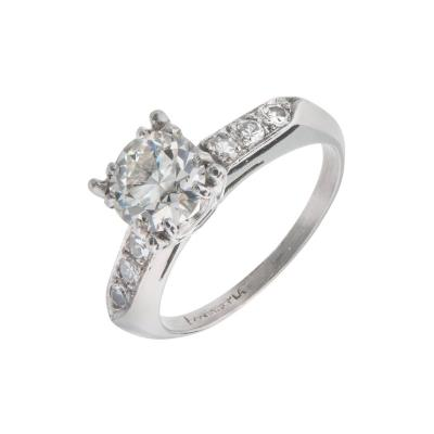 90 Carat Transitional Cut Diamond Platinum Engagement Ring