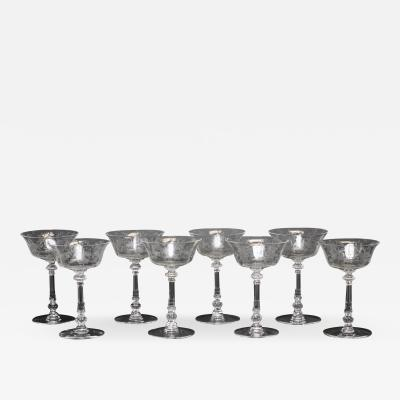 A H Heisey Glass Company Art Deco Crystal Champagne Tall Sherbet Orchid by HEISEY Set of 8 United States