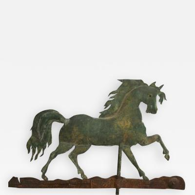 A L Jewell Co A Moulded and Gilded Copper Prancing Horse Weathervane