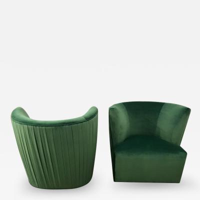 A Rudin 20th Century Modern Pr of A Rudin Emerald Velvet Swivel Lounge Chairs