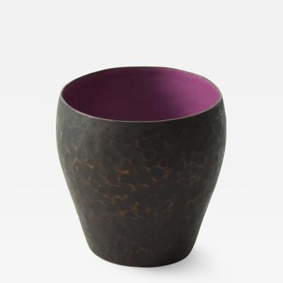 A Rudin Vintage Modern Hammered Copper Purple Enamel Small Vase by Raul Bellery