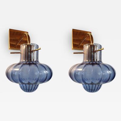A V Mazzega Blue Vintage Murano Glass Sconces Mid Century Modern Italy 1980s