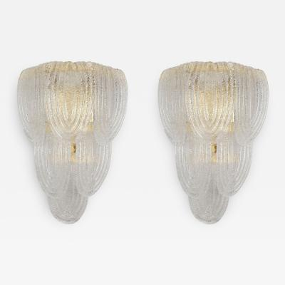 A V Mazzega Clear Murano glass gold plate Mid Century Vintage sconces Mazzega Italy 1970