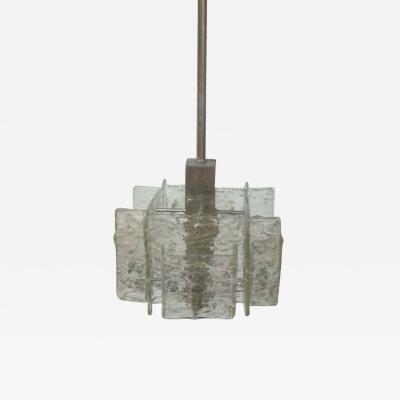A V Mazzega Italian Mid Century Modern Murano Venetian Ice Glass Chandelier Pendant