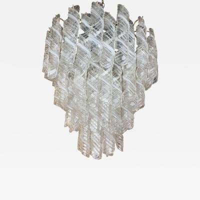 A V Mazzega Italian Modern Handblown Glass and Polished Nickel Chandelier Mazzega
