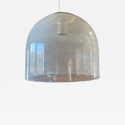 A V Mazzega Italian White Stripe Murano Glass Globe Pendant Chandelier By Mazzega 1970s