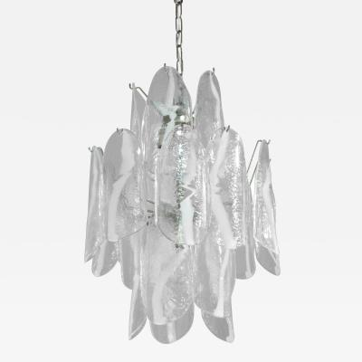 A V Mazzega Large Chandelier with Art Glass Panels by A V Mazzega