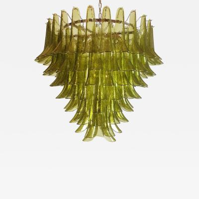 A V Mazzega Large Mid Century Modern 7 tier Green Murano glass chandelier by Mazzega Italy