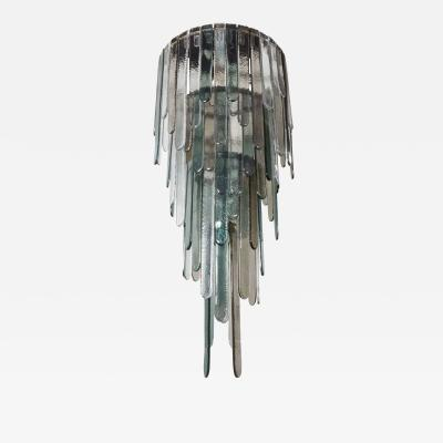 A V Mazzega Large Mid Century Modern Blue Gray Clear Murano Glass Chandelier by Mazzega