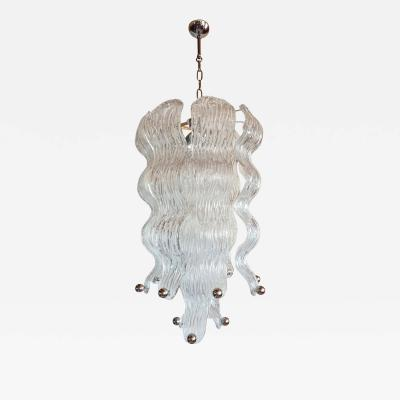 A V Mazzega Long Mid Century Modern Murano glass chrome chandelier Mazzega style 2 avail