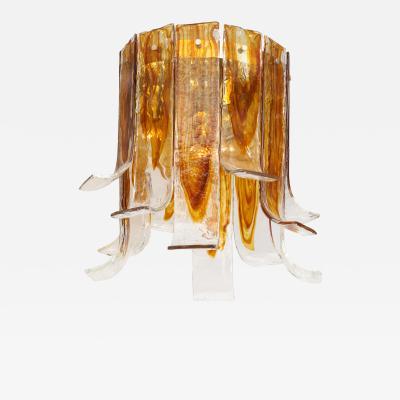 A V Mazzega Mazzega Amber Clear Semi Flushmount