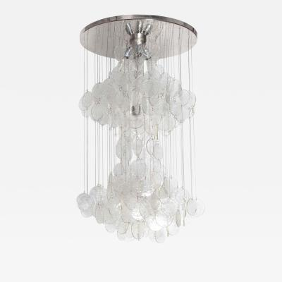 A V Mazzega Mazzega Multi Strand Glass Disc Chandelier