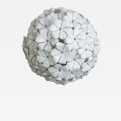 A V Mazzega Mazzega Murano Flower Ball Chandelier Mid Century Modern