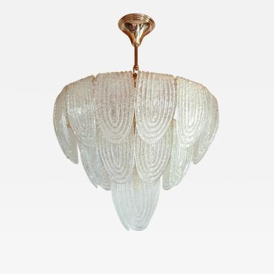 A V Mazzega Mid Century Modern Murano Glass Plated Gold Chandelier by Mazzega