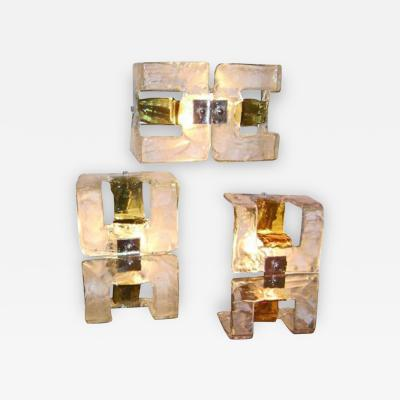 A V Mazzega Murano Glass Wall Sconces by Mazzega