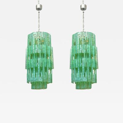 A V Mazzega Pair of Mazzega Glass Chandeliers Italy 1960s