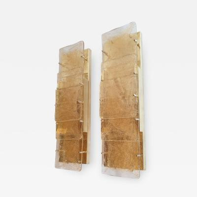 A V Mazzega Pair of large Mid Century Modern Murano glass wall sconces attr to Mazzega 1970s