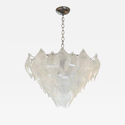 A V Mazzega Vintage Murano Leaf Chandelier Pendant Attributed to AV Mazzega Italy